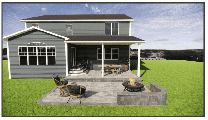 Visualization of paver patio and fire pit on rear of home
