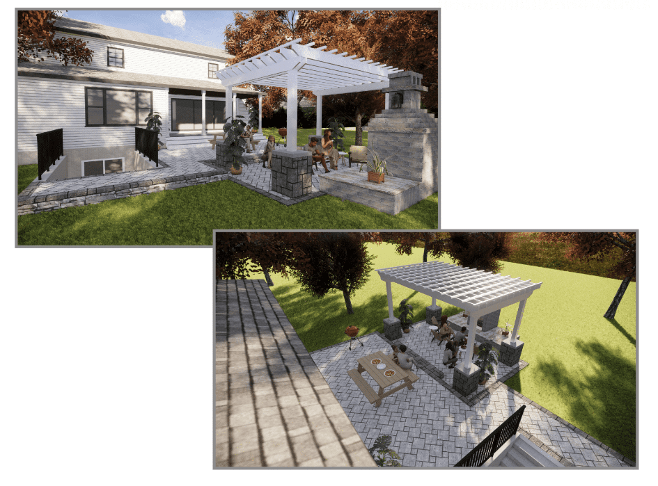 Pergola visualizations on rear of home