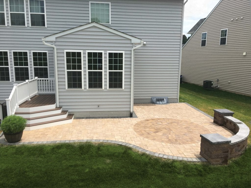 Patio and deck on rear of home in Bel Air, MD