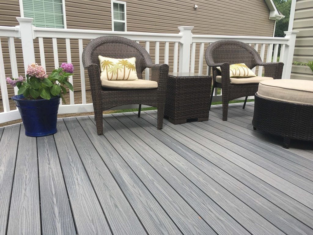 composite trex wood deck with seating
