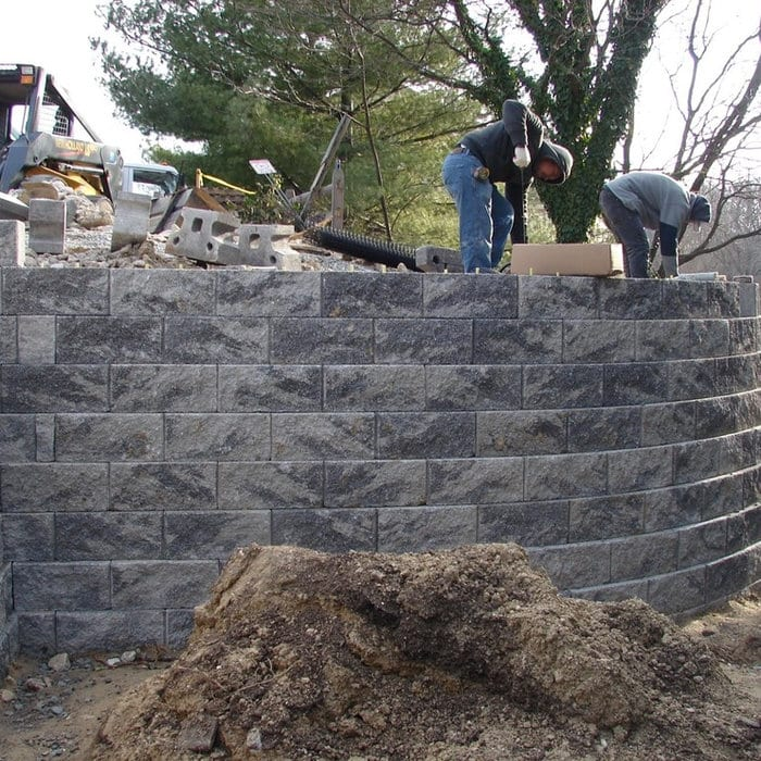 Large retaining wall during construction