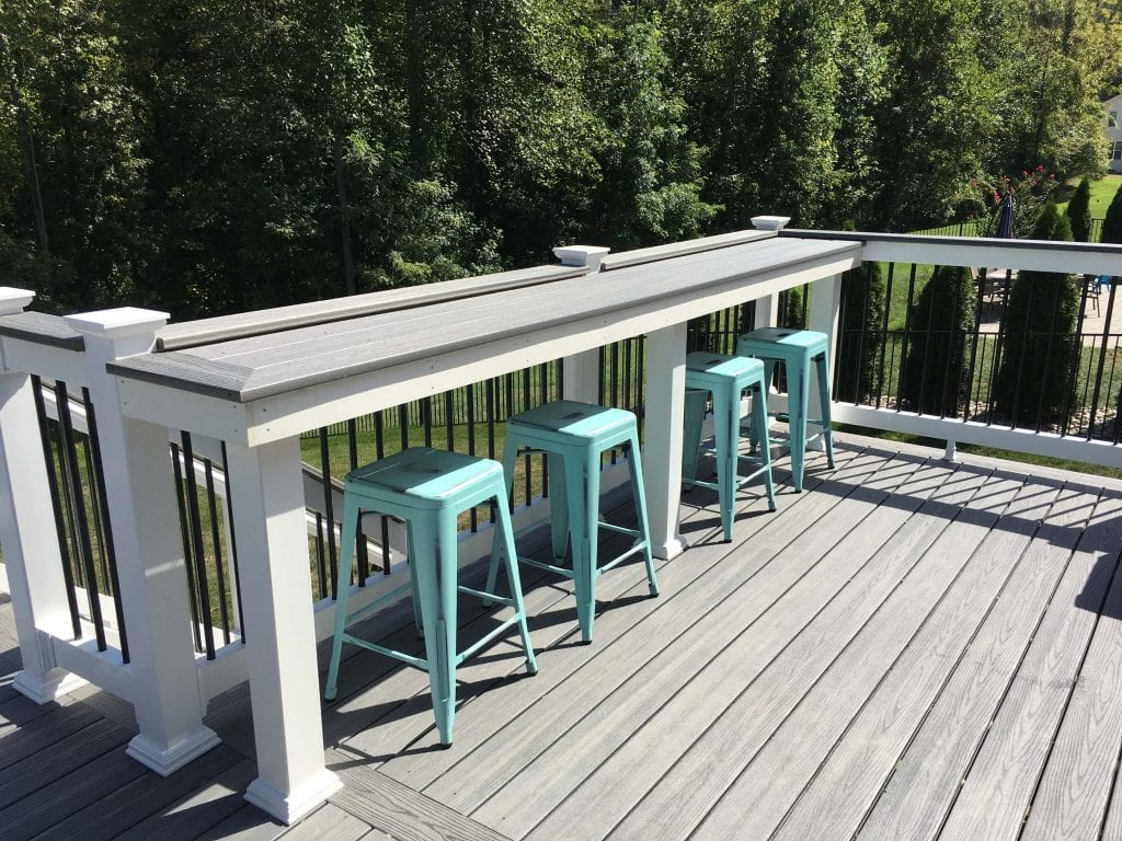 Deck with composite wood bar and stools