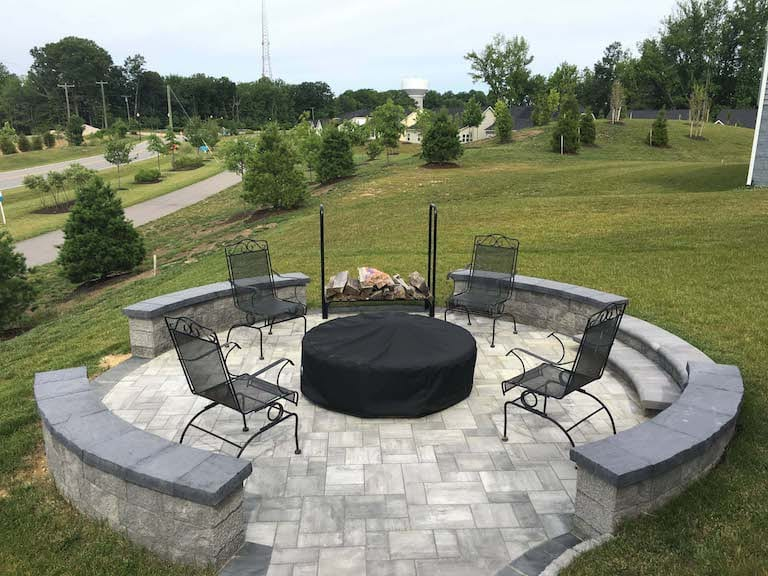 Gray and black fire pit seating area