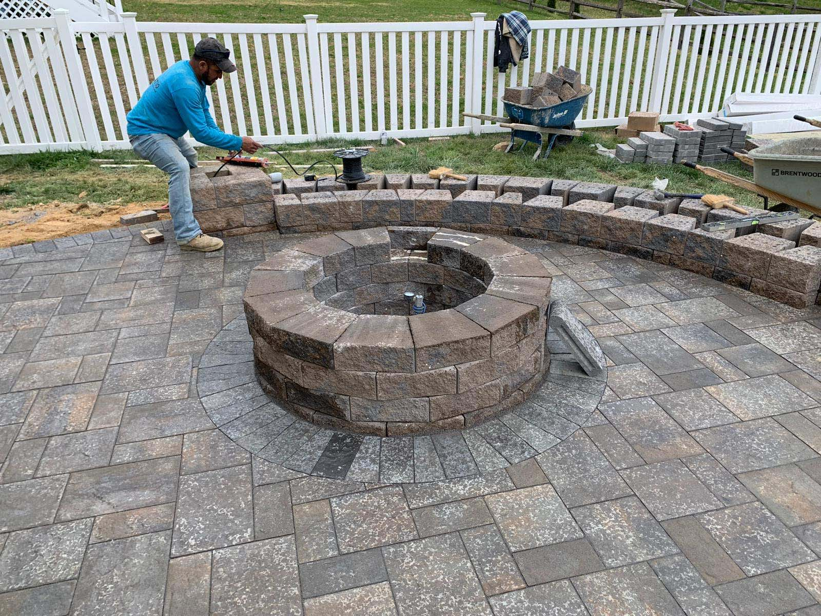 Fire Pit, patio and wall under construction
