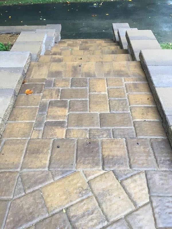 Glossy finish paver stairs and sidewalk. Wet look, glossy finish.