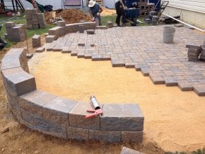 Paver patio and project under construction