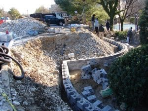 Retaining wall project under construction